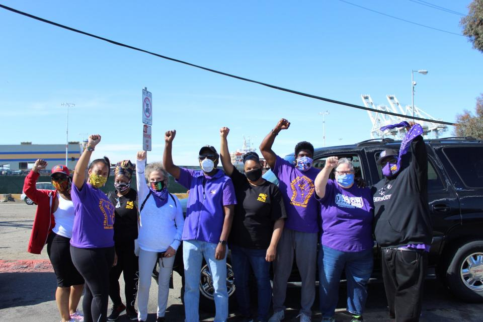 SEIU 1021 members joining ILWU in their port shutdown action on June 19